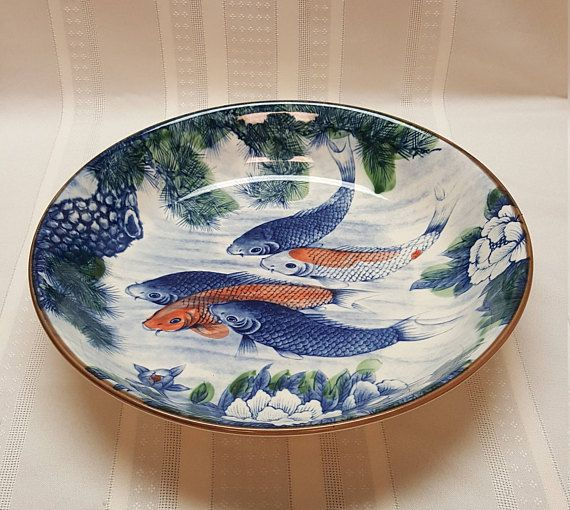 LARGE Japan KOI Fish Bowl Carp Lotus Blossom Pine Blue White