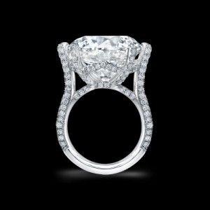 20 ct. Round Brilliant Diamond in Pave Platinum Ring.