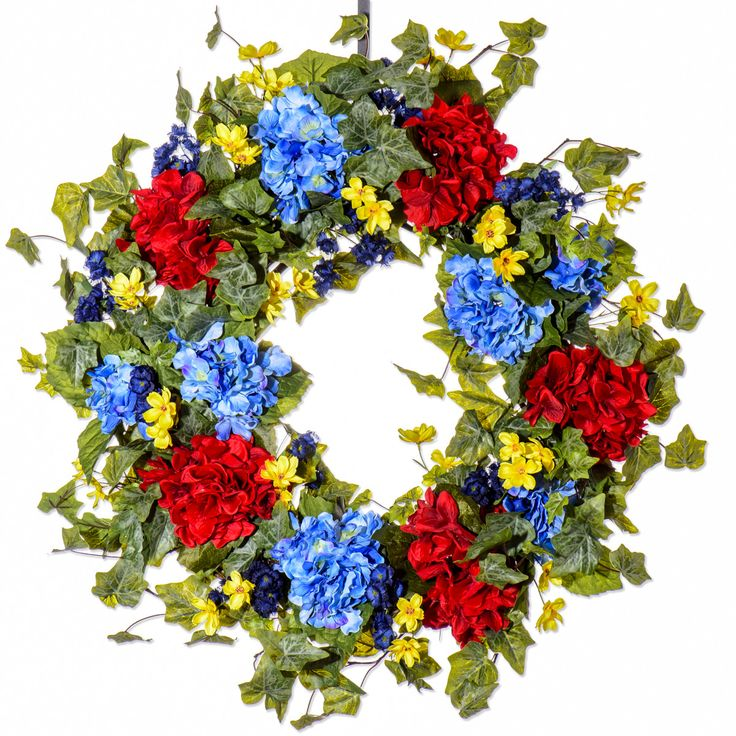 Blue and Red Hydrangea Wreath (SW404)