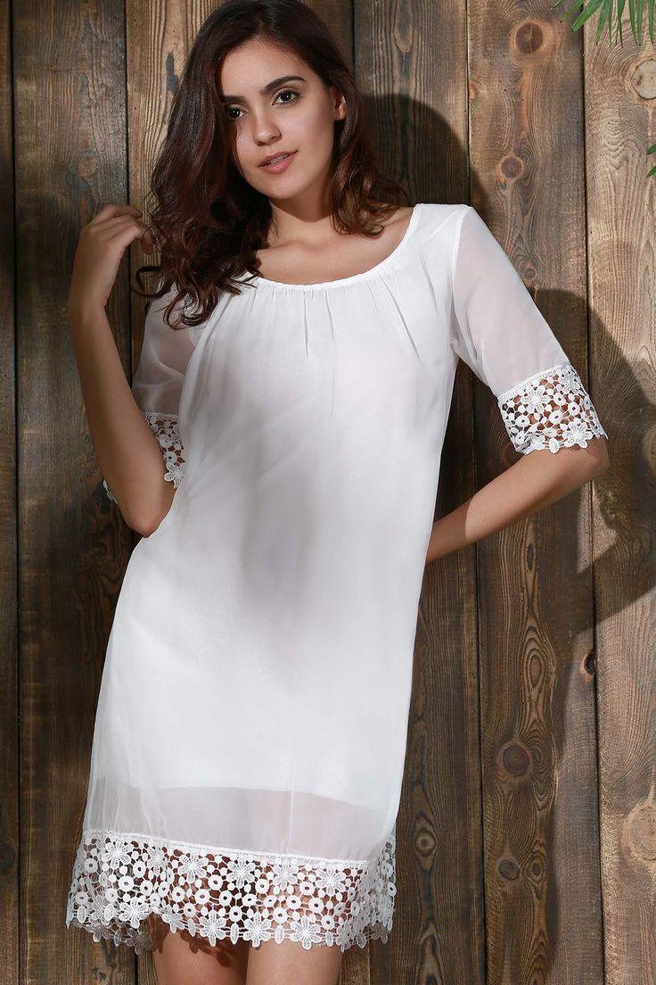 Lace Splice Scoop Neck Half Sleeve Dress #jewelry, #women, #men, #hats, #watches, #belts, #fashion