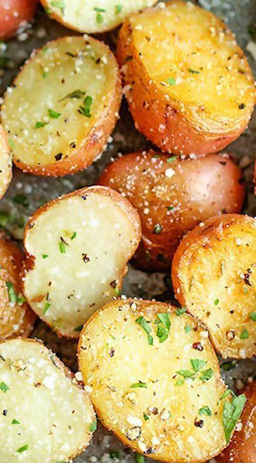 Garlic Parmesan Roasted Potatoes. My mouth is watering. Yummy!