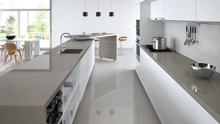 Dark benchtop and light grey splashback kitchen for Kitchen benchtop ideas
