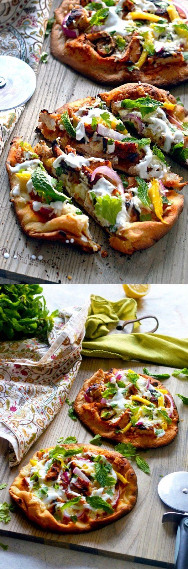 Tandoori Chicken Naan Pizza