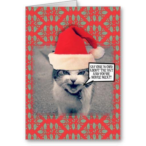 Grumpy Christmas Cat Greeting Card