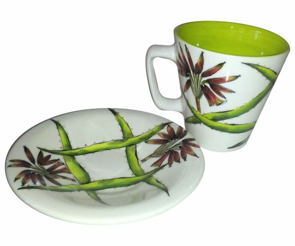 Hand Painted Aloe Ceramic Tea Cup... coming soon to Essential Life! #tea #cup #ceramic #colorful #painted