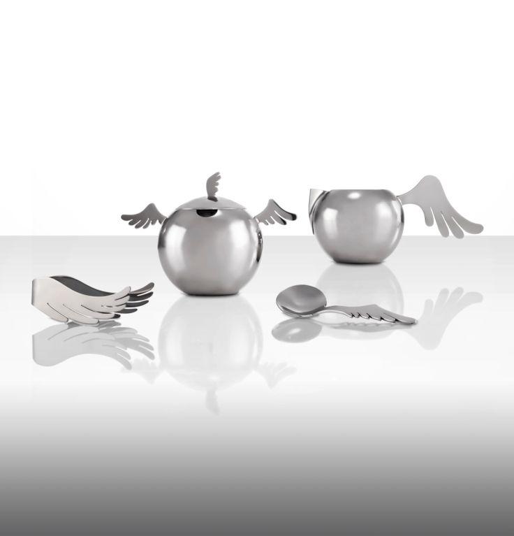 """Wings"" range by Holly Birkby for Carrol Boyes. Stainless steel. Sugar bowl, milk jug, sugar tongs and sugar ladle."