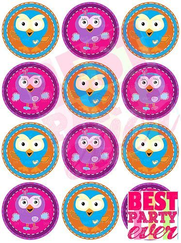 NEW Design Edible Cupcake Toppers 12 X Giggle AND Hoot Hoot Hootabelle   eBay