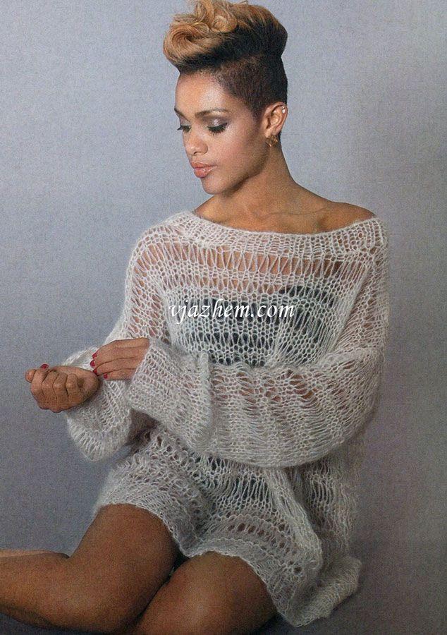 Пуловер с узором из спущенных петель