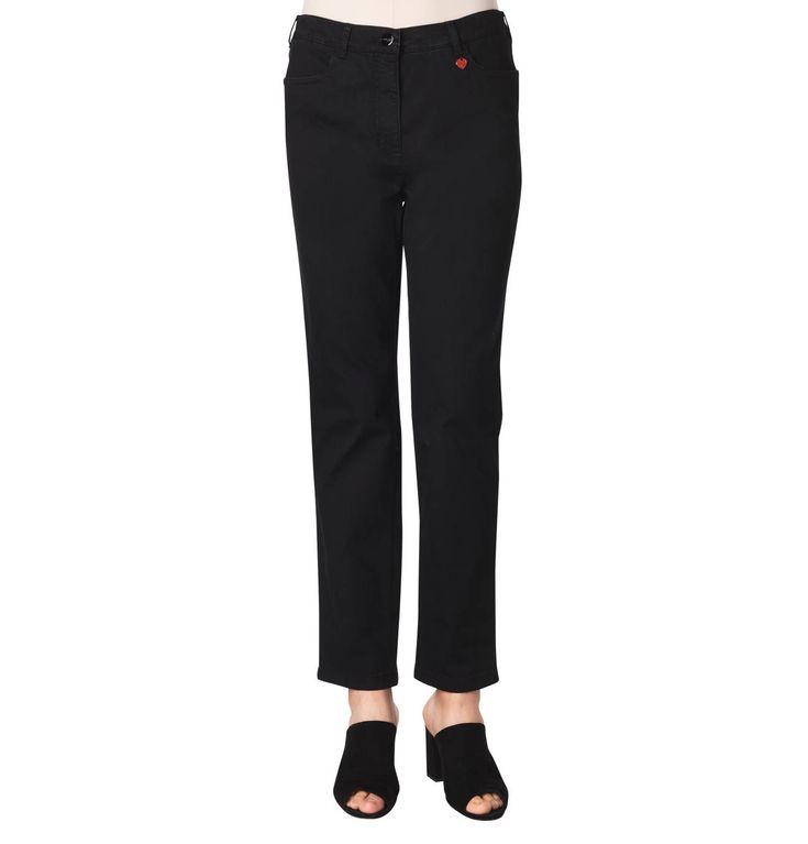 Jeans, slim fit, heart pendant, elastic inserts, rhinestone