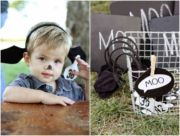 Cow Birthday Party...love the cow ears. Tags could be age of birthday boy!