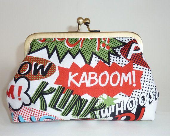 Superhero multicoloured clutch bag by MercurioMillinery on Etsy, £25.00