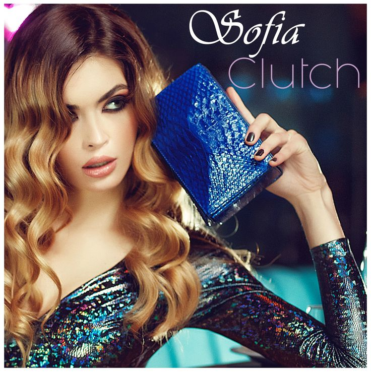 Make your outfit glow with this little jewel, the Sofia Blue Snake Clutch http://bit.ly/Sofia-blue-clutch-snake-skin