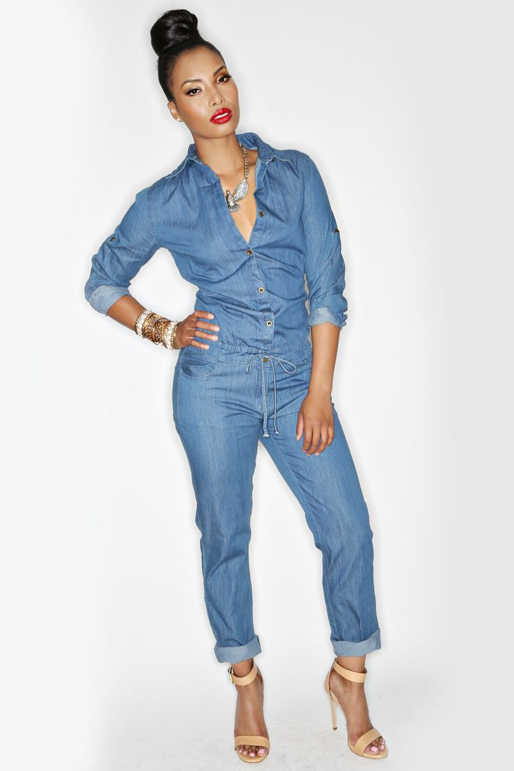 Women'S Denim Jumpsuits Clothing