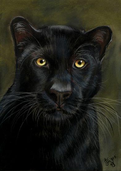 black Panther - pastel painting  art-ist-art.com