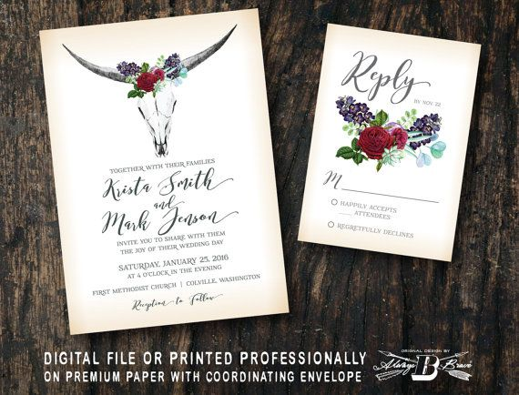 Boho Wedding Invitation SET  Boho Bull Skull by AlwaysBBrave