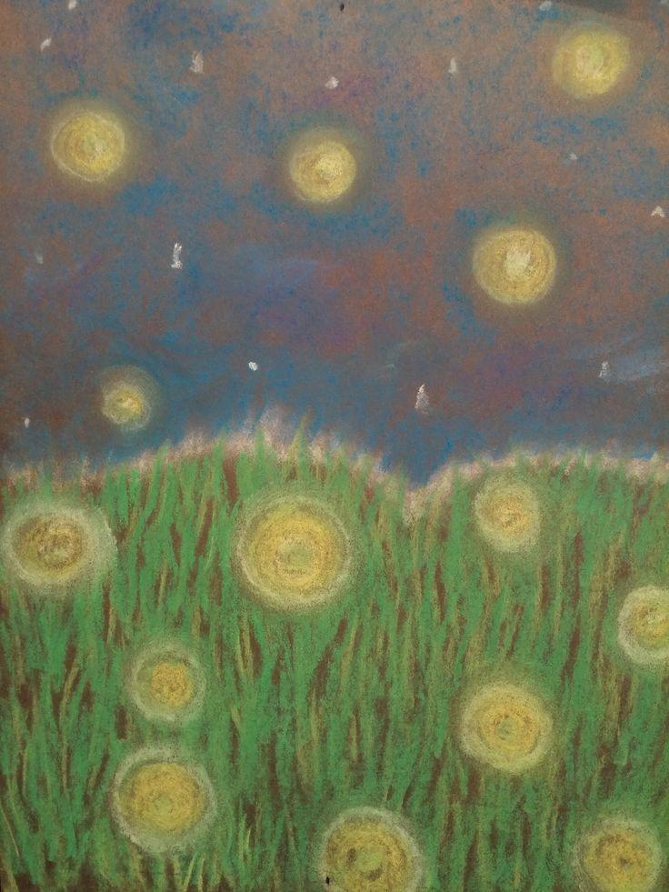 Fireflies - chalk pastels on black paper