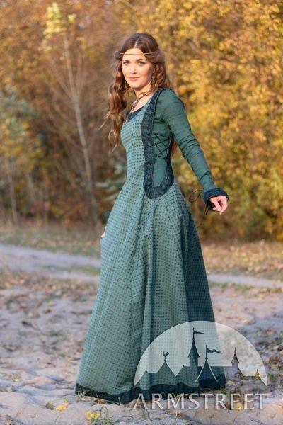 Robe de lin renaissance médiévale avec surcot et chaperon « Princesse de lAutomne »