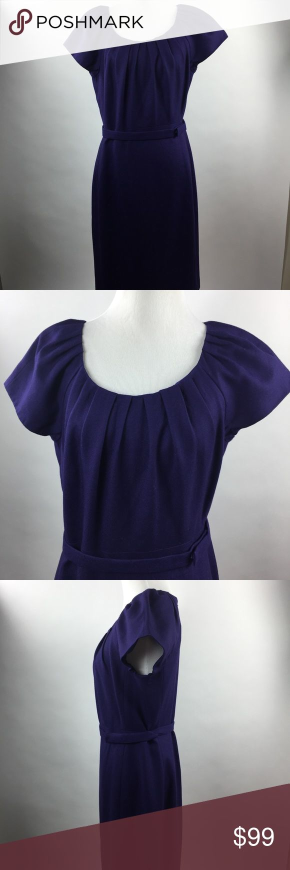 Elie Tahari Alison Sheath dress purple 8 new wool Elie Tahari new with tags Alison Pleated neck, cap sleeve, belted Sheath dress in grape harvest size 8.  Fully lined with back zipper.  Chest - 35 in. Waist- 31 in. Elie Tahari Dresses