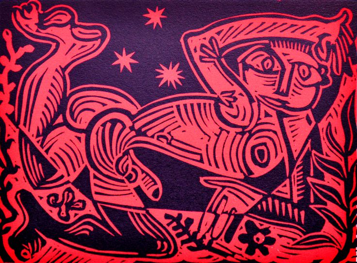 Nicolaas Maritz, RED STARLIGHT NUDE, two-colour lino print