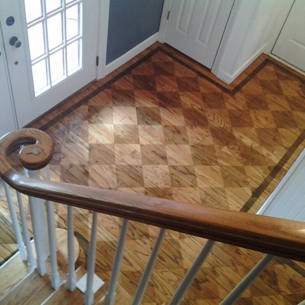 A Reader Opens Up A Closed In Stairway And Stains The Floor In A Checkerboard