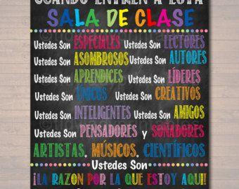 Custom Spanish Classroom Rules Poster, Spanish Class Decor, Clase de Espanol In This Classroom, Spanish Teacher, Spanish Classroom Posters