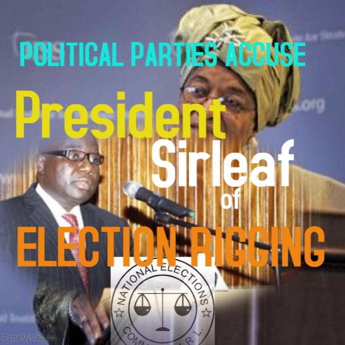 By J K K Peah thenewdispensation@gmail.com The ruling Unity Party of Liberia and three other opposition political parties have accused President Ellen Johnson-Sirleaf of rigging the country'…