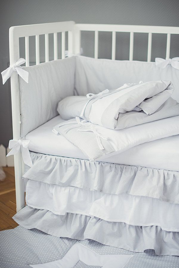 Crib skirt with ruffles White Moonlight - Baby cot crib skirt gray and white by CotandCot on Etsy