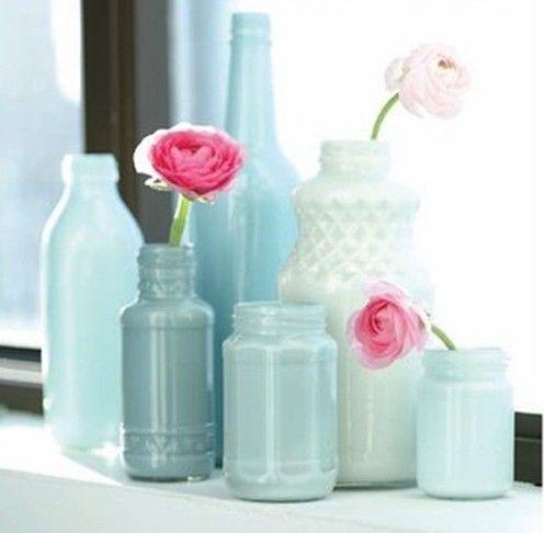 Яркие вазы из стеклянных бутылок своими руками: красим изнутри   Элементы декора   DecorWind.ru