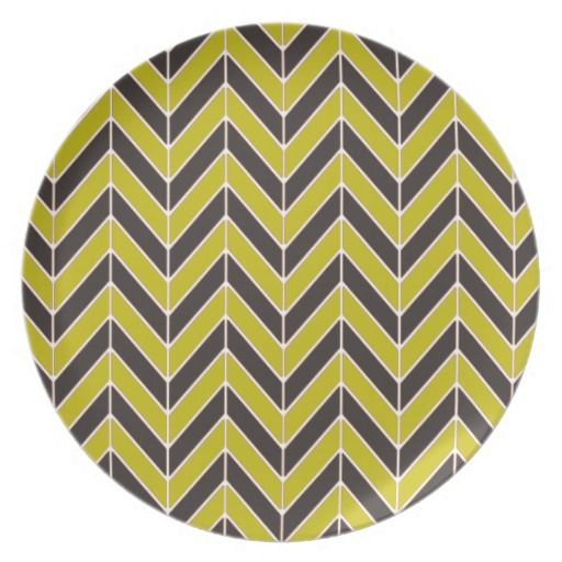 Herringbone Pattern in Yellow and Brown Dinner Plates, by Joy McKenzie on Zazzle