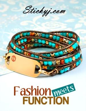 Medical Alert Bracelets: Brown and Blue beaded leather wrap medical bracelet. www.StickyJ.com