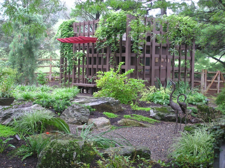 A Wooden Structure That Was Added To The Front To Disguise The Pool House  And Make. Japanese Garden LandscapeAsian LandscapeJapanese ...