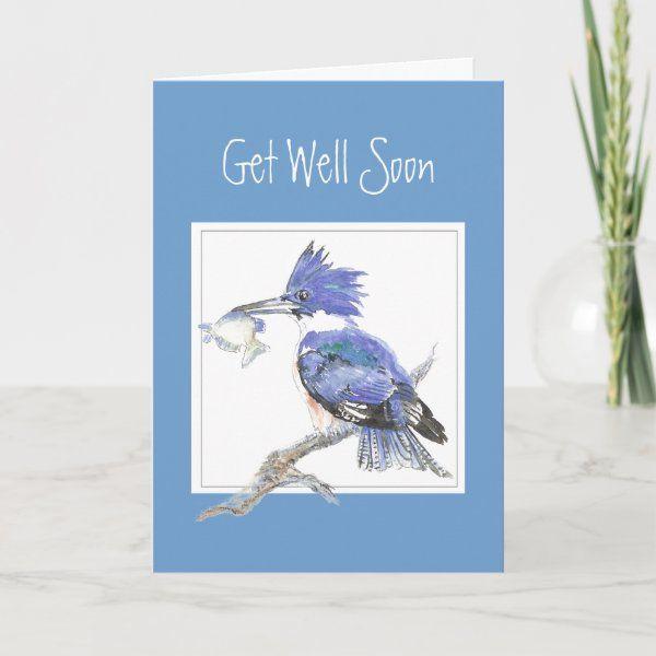 Custom Get Well Soon Masculine Fishing Kingfisher Card Zazzle Com Custom Greeting Cards Get Well Cards Get Well Soon
