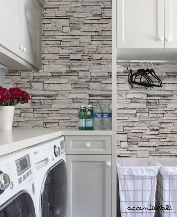 Faux Stone Peel Stick Fabric Wallpaper Repositionable Etsy Faux Stone Wallpaper Stone Wallpaper Laundry Room Design