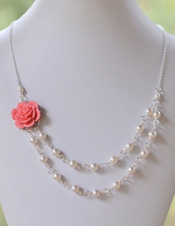 Bridesmaid Jewelry Guava Pink Dainty Double Strand
