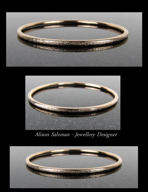 9ct Rose Gold textured 3mm round wire bangle. the Gold Collection - Alison Salzman - Jewellery Designer