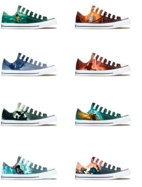 Shoes inspired by the covers of the books in the Percy Jackson and The Olympians series and The Heroes of Olympus series by Rick Riordan. I NEED THESE SO BAD