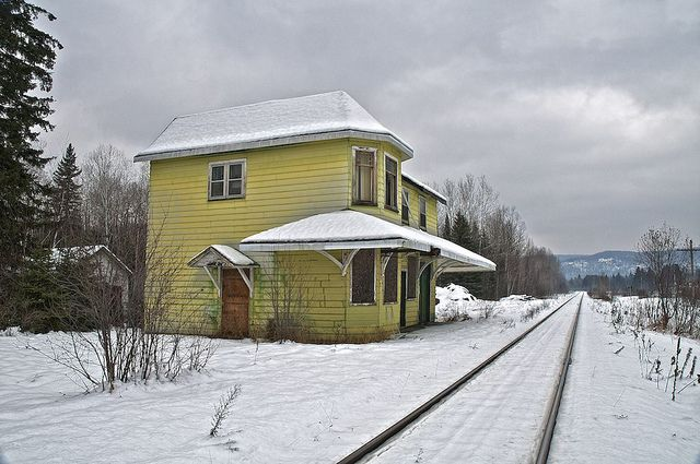 abandoned train station, searchmont, ontario. Snow covers the old abandoned and decaying Algoma Central Railway Searchmont train station