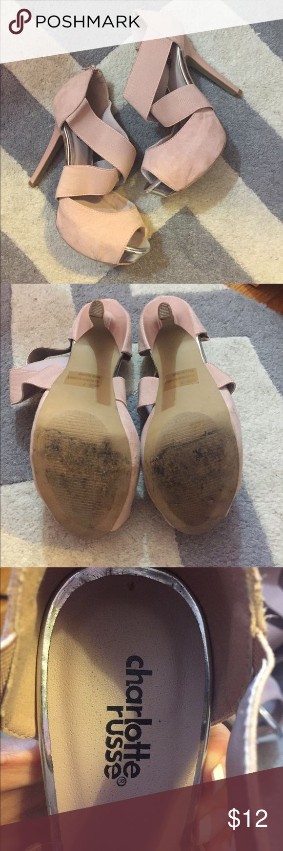 Pale pink Charlotte Russe heels Charlotte Russe heels. Pale pink color. Top and back are suede straps across front are not. Approx. 4 in heel. Worn only a few times still great condition. Charlotte Russe Shoes Heels