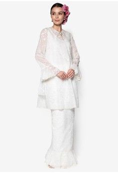 Orchid Lace Kurung from Rizalman Bridalwear for ZALORA in white_1