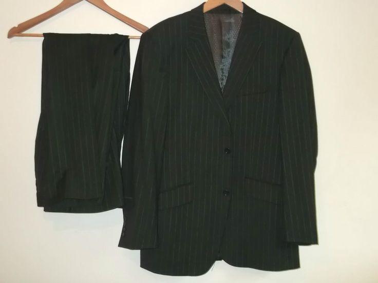 Remus Uomo Mens 2 Piece Wool Blend Suit Brown Pinstripe Blazer & Pants Size 40R