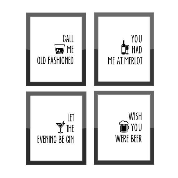 ** DIGITAL PDF DOWNLOAD ** TAGS: funny kitchen, cocktail quote, you had me at merlot, let the evening be gin, wish you were beer, pdf, print, bar décor, gallery wall, kitchen countertop, frame your own, home decoration, whiskey tumbler, call me old fashioned, wine décor, wine quote, liquor quote, beer quote, evening be gin, gin quote, alcohol quote, kitchen décor, gallery wall, whiskey quote SIZE: -- Set of (4) prints that are downloadable PDF files. You will be sent these files via email...