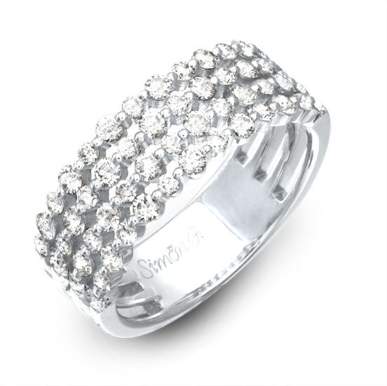 This Lovely White Band Is Comprised Of Round Diamonds