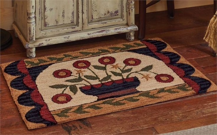 New Primitive Country Folk Art Penny Flower Basket Wool