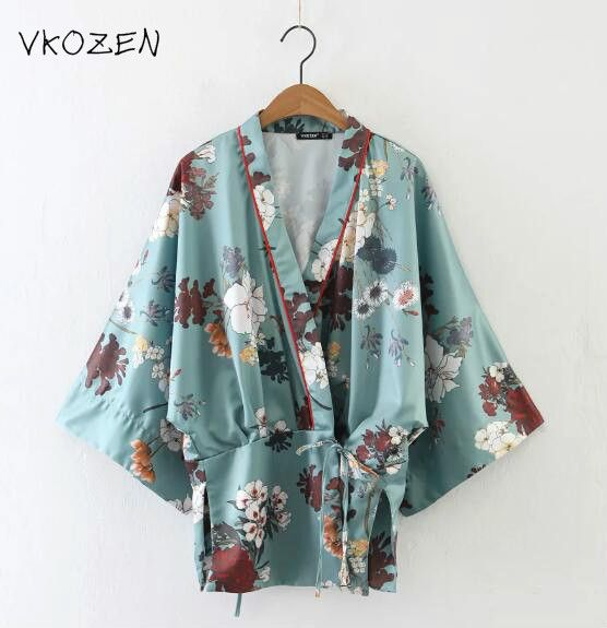 VKOZEN 2017 Women Fashion Flower Print Satin Kimono Blouse