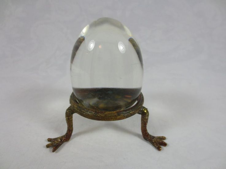 """CRYSTAL EGG Clear ~3.5"""" w gold-tone metal Stand ~ Year-round display & Easter"""