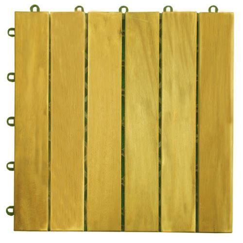 Vifah V353 Acacia 6 Slat Interlocking Deck Tile in Teak