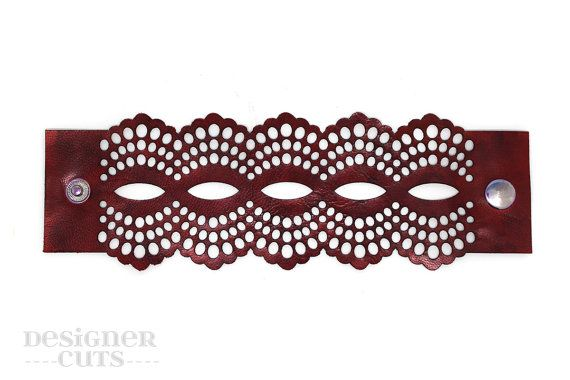 Laser cut leather cuff bracelet Dark red by designercuts on Etsy