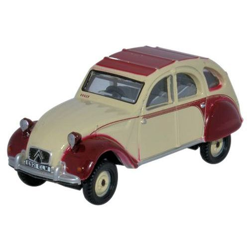 Oxford Diecast 1:76 Scale Citroen 2CV Dolly Plum/Custard