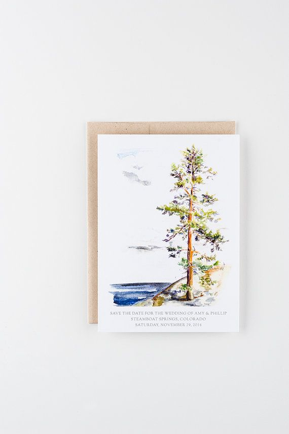 This invitation features a water color illustration of a mountain and pine tree printed on heavy white paper with coordinating envelopes. This