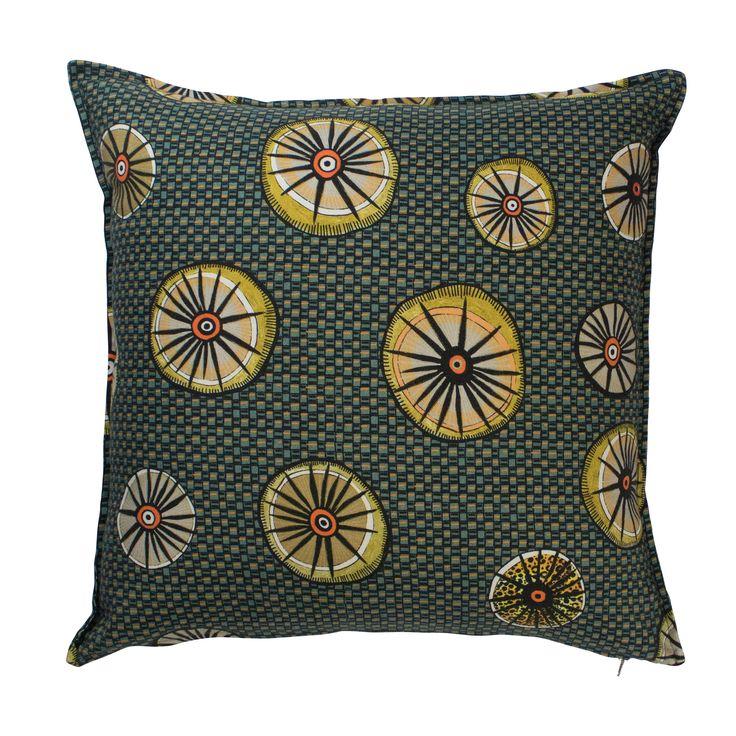 Amasumpa linen traditional african motif cushion in Swamp